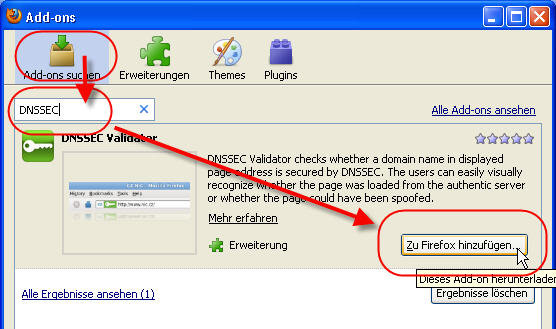 Screenshot DNSSEC Validator installieren 1